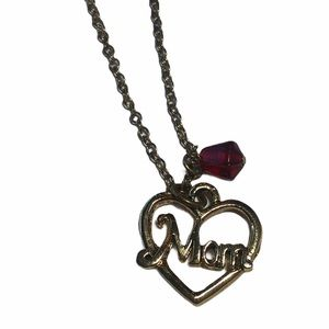 Vintage Goldtone Ruby Red Sapphire Mom Necklace